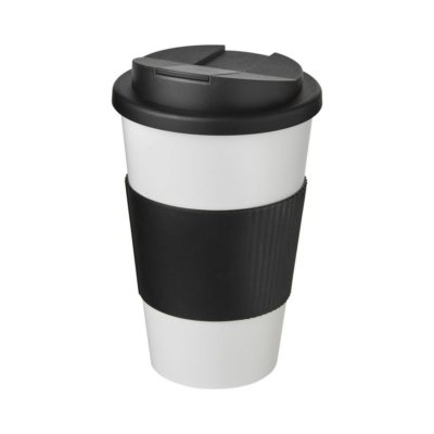 Americano® 350 ml tumbler with grip & spill-proof lid - Biały