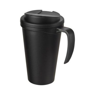 Americano Grande 350 ml mug with spill-proof lid - czarny
