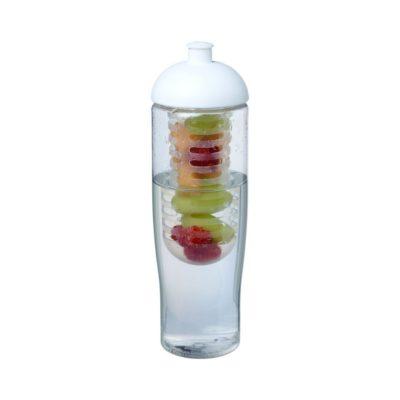 Bidon H2O Tempo® o pojemności 700 ml z wypukłym wieczkiem zmożliwością przyrządzania wody smakowej - Biały