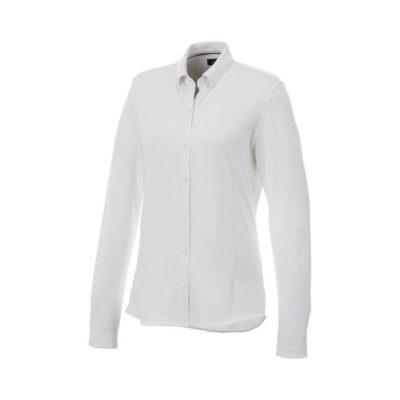 Damska koszula z długim rękawem o splocie pique Bigelow - Biały