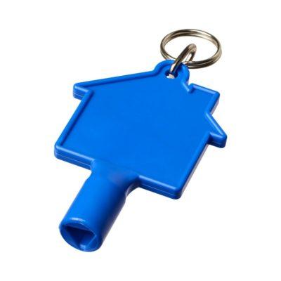 Klucz do skrzynki licznika w kształcie domku Maximilian z brelokiem - niebieski