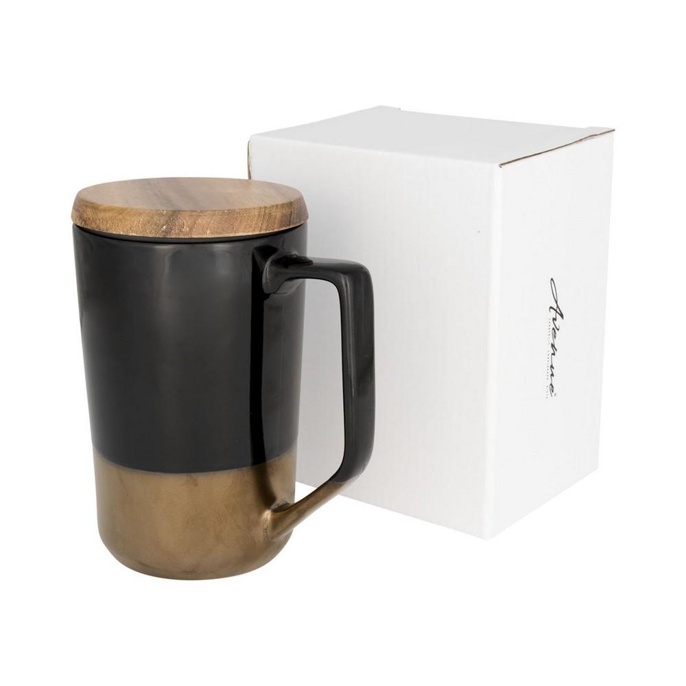 Kubek ceramiczny Tahoe na kawę i herbatę z pokrywką z drewna