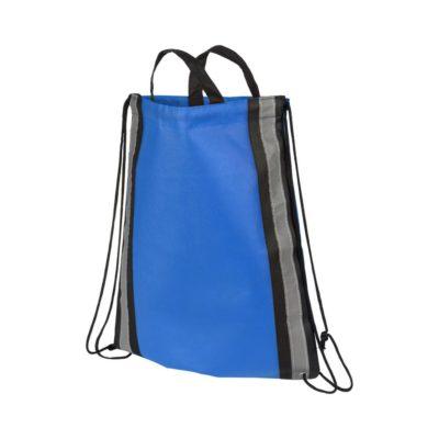 Odblaskowy plecak non-woven ściągany sznurkiem - niebieski