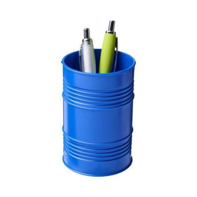 Pojemnik na długopisy Bardo w kształcie beczki na ropę wykonany z tworzywa sztucznego - niebieski