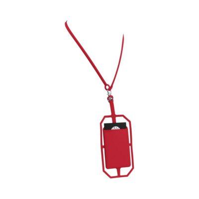 Silikonowy uchwyt RFID ze smyczą na karty kredytowe - Czerwony