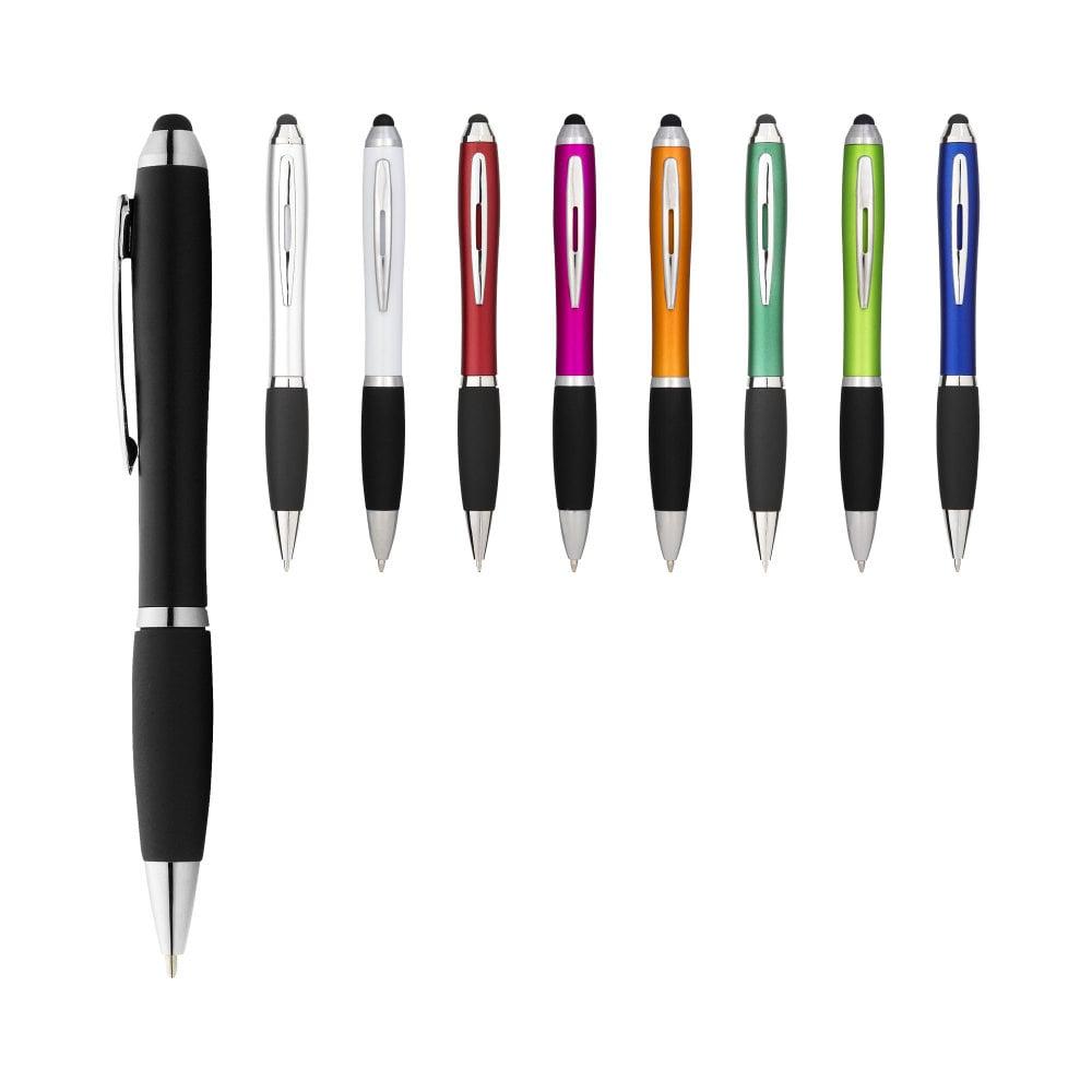 Długopis z kolorowym stylusem i czarnym uchwytem Nash