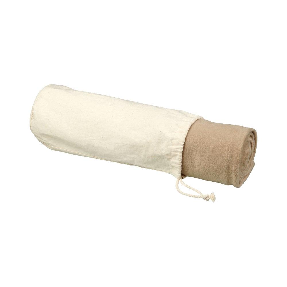 Mikropluszowy koc Aira z polaru z bawełnianą torbą