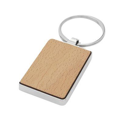 Prostokątny brelok do kluczy Mauro z drewna bukowego