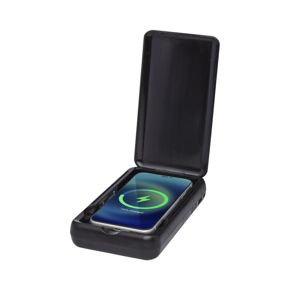 Sterylizator UV do smartfonów Nucleus z bezprzewodowym powerbankiem o pojemności 10000 mAh