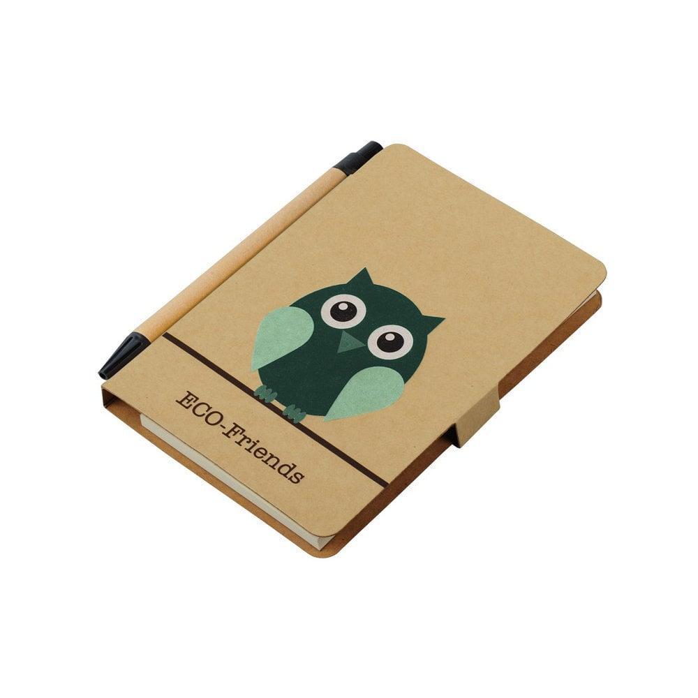 Notes 80x140/50k gładki Owl z długopisem